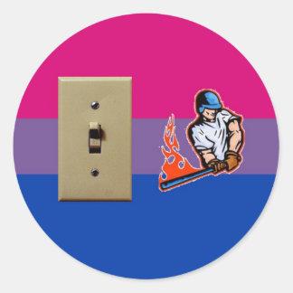 """Switch Hitter"" Bisexual Pride Classic Round Sticker"