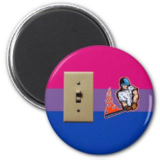 """Switch Hitter"" Bisexual Pride 2 Inch Round Magnet"