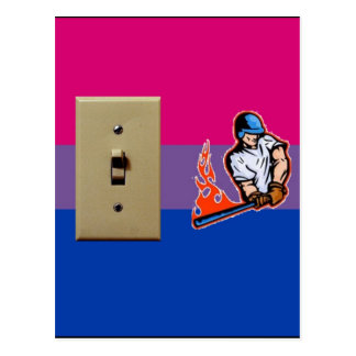 """""""Switch Hitter"""" Bisexual Pride Postcard"""