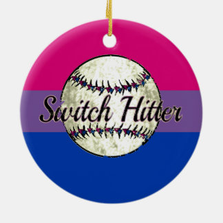 Switch Hitter With Bi Pride Flag Ceramic Ornament