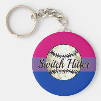 Switch Hitter With Bi Pride Flag Keychain