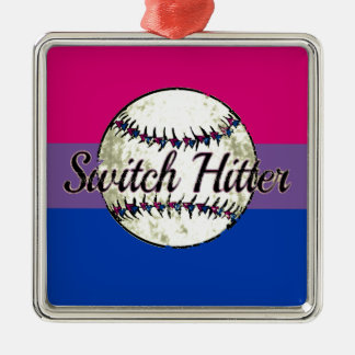 Switch Hitter With Bi Pride Flag Metal Ornament