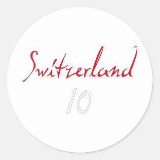 ¡Switzeland 10! Pegatina Redonda
