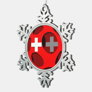 Switzerland #1 snowflake pewter christmas ornament