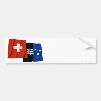 Switzerland & Aargau Waving Flags Bumper Sticker