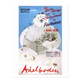 Switzerland Adelboden Vintage Travel Poster Postcard