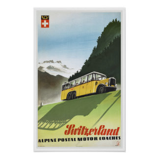 Switzerland Alpine Coaches - Vintage Travel Poster