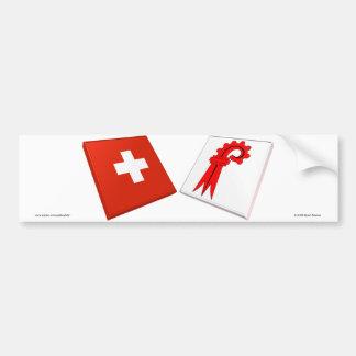 Switzerland and Basel-Landschaft Flags Bumper Stickers