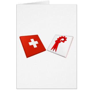 Switzerland and Basel-Landschaft Flags Card