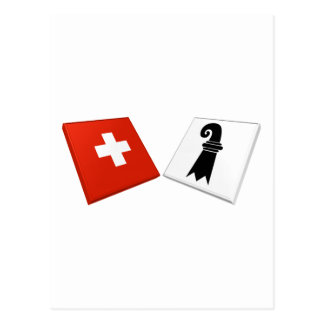 Switzerland and Basel-Stadt Flags Postcards