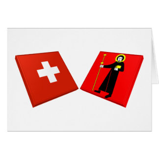 Switzerland and Glarus Flags Card