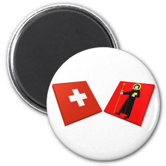 Switzerland and Glarus Flags Magnet