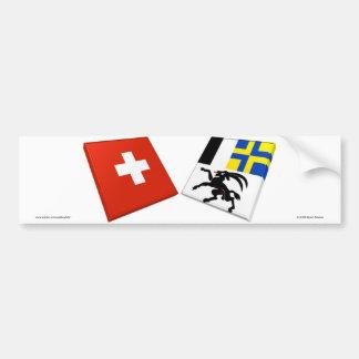 Switzerland and Graubuenden Flags Bumper Stickers