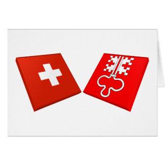 Switzerland and Nidwalden Flags Card
