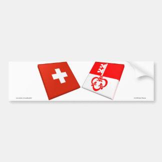 Switzerland and Obwalden Flags Bumper Sticker