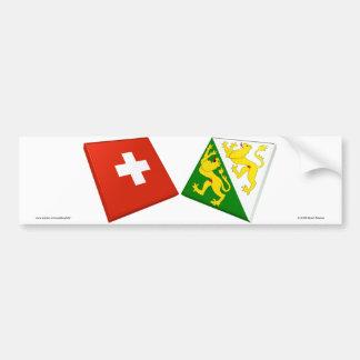 Switzerland and Thurgau Flags Bumper Sticker