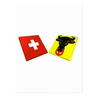 Switzerland and Uri Flags Postcard