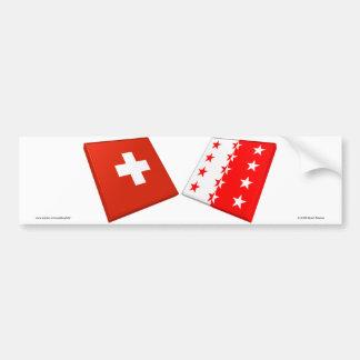 Switzerland and Valais Flags Car Bumper Sticker