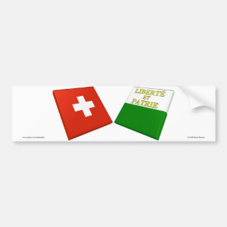 Switzerland and Vaud Flags Bumper Stickers
