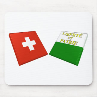 Switzerland and Vaud Flags Mouse Pads