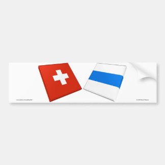 Switzerland and Zug Flags Bumper Stickers