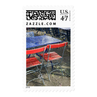 SWITZERLAND, BASEL: Caafe Table & Chairs on Postage