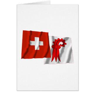 Switzerland & Basel-Landschaft Waving Flags Cards