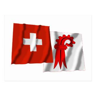 Switzerland & Basel-Landschaft Waving Flags Postcards