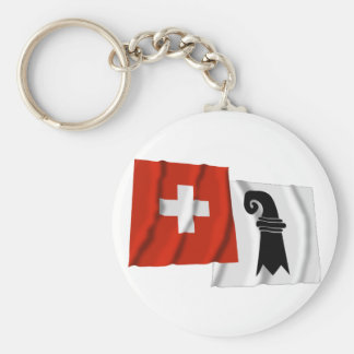 Switzerland & Basel-Stadt Waving Flags Basic Round Button Keychain
