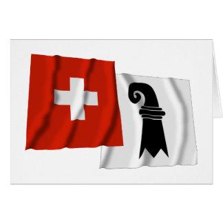 Switzerland & Basel-Stadt Waving Flags Card