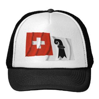 Switzerland & Basel-Stadt Waving Flags Trucker Hat