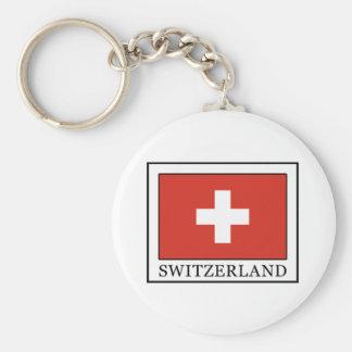 Switzerland Basic Round Button Keychain