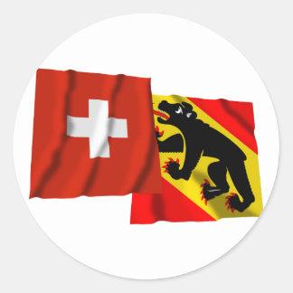 Switzerland & Bern Waving Flags Classic Round Sticker