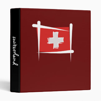 Switzerland Brush Flag 3 Ring Binder