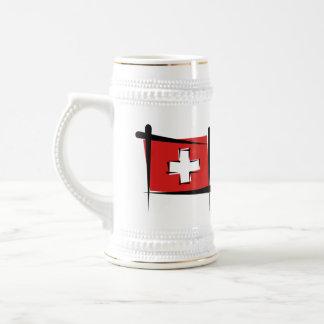 Switzerland Brush Flag Beer Stein