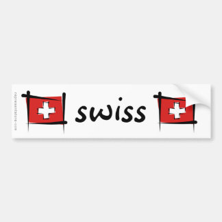Switzerland Brush Flag Bumper Sticker