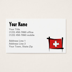 Switzerland business cards templates zazzle switzerland brush flag business card colourmoves Image collections