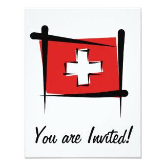 Switzerland Brush Flag Card