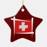 Switzerland Brush Flag Christmas Tree Ornaments