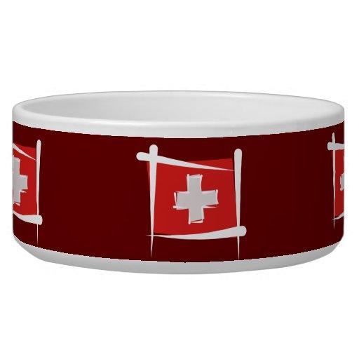 Switzerland Brush Flag Dog Water Bowls