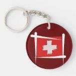 Switzerland Brush Flag Key Chains