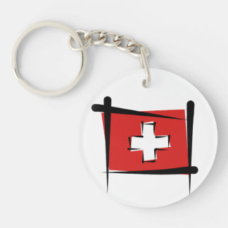 Switzerland Brush Flag Double-Sided Round Acrylic Keychain