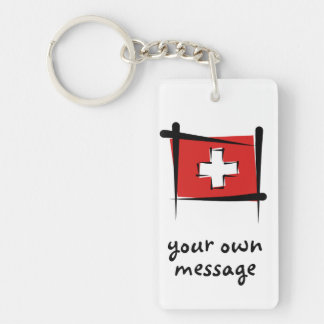 Switzerland Brush Flag Double-Sided Rectangular Acrylic Keychain