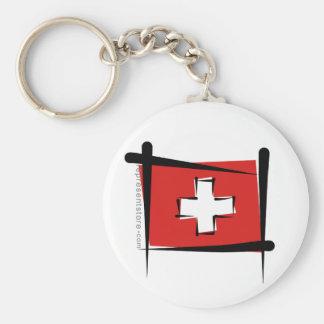 Switzerland Brush Flag Keychain