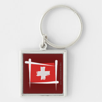 Switzerland Brush Flag Keychain