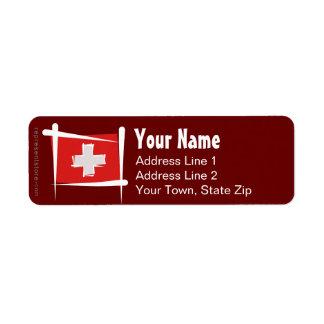 Switzerland Brush Flag Label