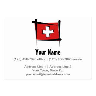 Switzerland Brush Flag Large Business Card