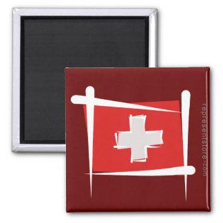 Switzerland Brush Flag Magnet