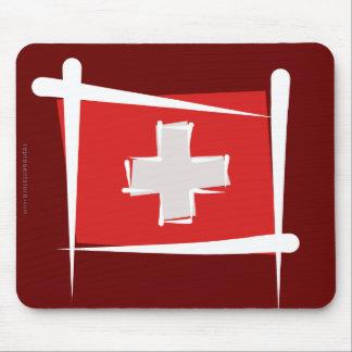Switzerland Brush Flag Mouse Pad