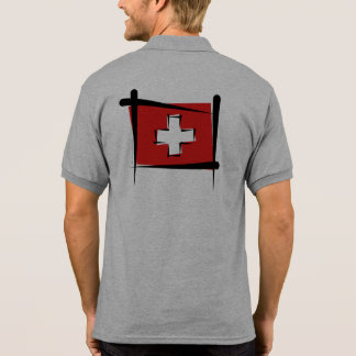 Switzerland Brush Flag Polo Shirts